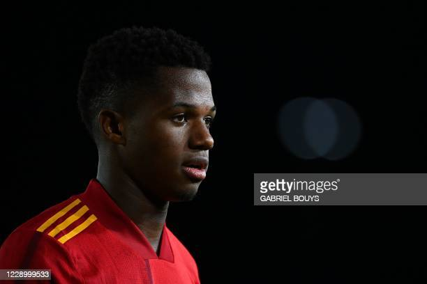 Spain's forward Ansu Fati attends the UEFA Nations League A group 4 football match between Spain and Switzerland at the Alfredo Di Stefano stadium in...