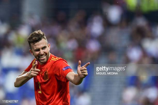 Spain's forward Borja Mayoral celebrates scoring during the semi-final match of the UEFA U21 European Football Championships between Spain and France...