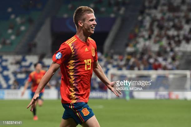 Spain's forward Dani Olmo celebrates scoring during the semifinal match of the UEFA U21 European Football Championships between Spain and France on...