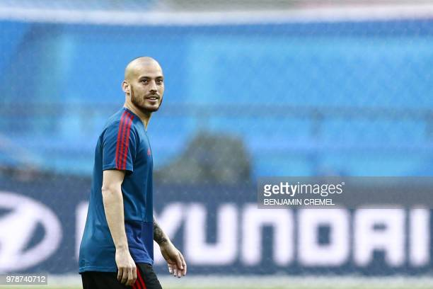 Spain's forward David Silva attends a training session at the Kazan Arena on June 19 on the eve of the Russia 2018 World Cup Group B football match...