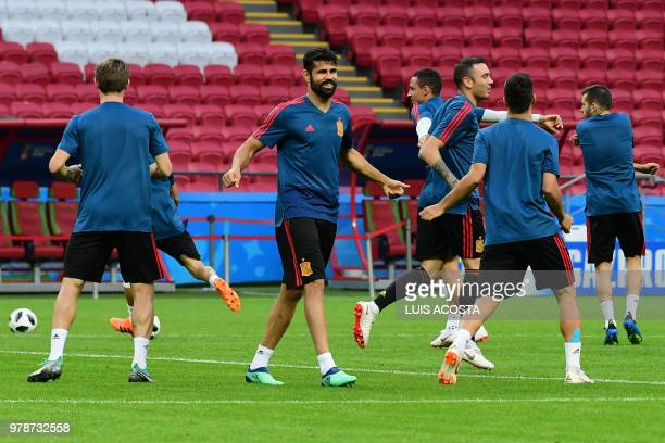 Spain's forward Diego Costa attends a training session in Kazan on June 19 2018 ahead of their Russia 2018 World Cup Group B football match against...