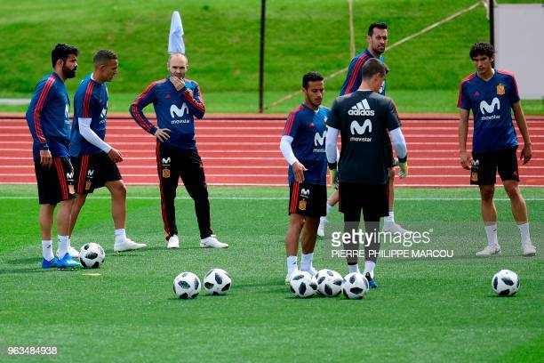 Spain's forward Diego Costa Spain's forward Rodrigo Spain's midfielder Andres Iniesta Spain's midfielder Thiago Spain's midfielder Sergio Busquets...