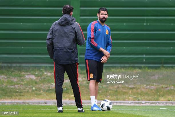 Spain's forward Diego Costa takes part in a training session at Mirniy Stadium in Kaliningrad on June 24 2018 on the eve of their Russia 2018 World...