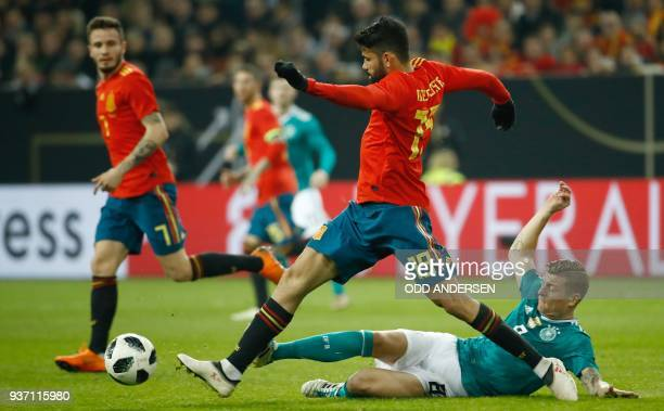 Spain's forward Diego da Silva Costa and Germany's midfielder Toni Kroos vie for the ball during the international friendly football match of Germany...