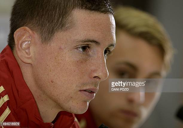 Spain's forward Fernando Torres and Spain's defender Gerard Deulofeu give a press conference at the Sport City ground in Las Rozas near Madrid on May...