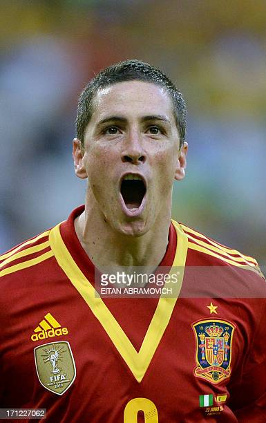Spain's forward Fernando Torres celebrates after scoring against Nigeria during their FIFA Confederations Cup Brazil 2013 Group B football match at...