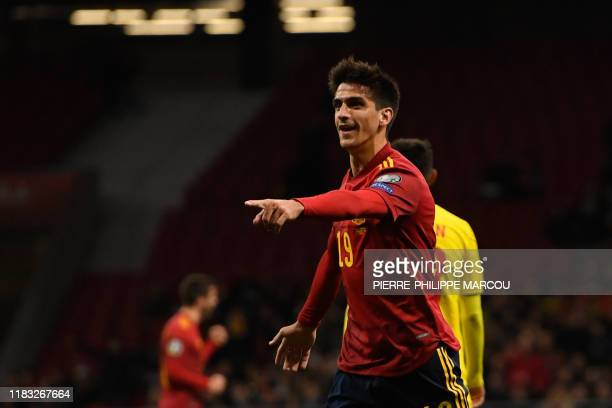 Spain's forward Gerard Moreno celebrates after scoring a goal during the Euro 2020 Group F qualification football match between Spain and Romania at...
