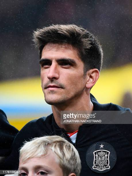 Spain's forward Gerard Moreno is pictured prior to the UEFA Euro 2020 Group F qualification football match Sweden v Spain in Solna Sweden on October...