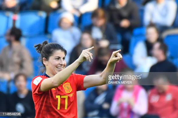 Spain's forward Lucia Garcia celebrates after scoring a goal during the France 2019 Women's World Cup Group B football match between Spain and South...
