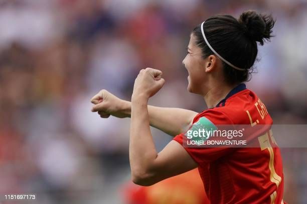 TOPSHOT Spain's forward Lucia Garcia celebrates her team's first goal during the France 2019 Women's World Cup round of sixteen football match...