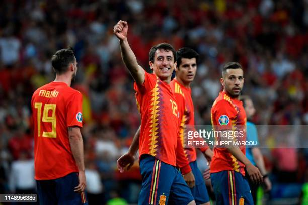 Spain's forward Mikel Oyarzabal celebrates after scoring a penalty during the UEFA Euro 2020 group F qualifying football match between Spain and...