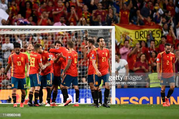 Spain's forward Mikel Oyarzabal celebrates after scoring Spain's third goal during the UEFA Euro 2020 group F qualifying football match between Spain...