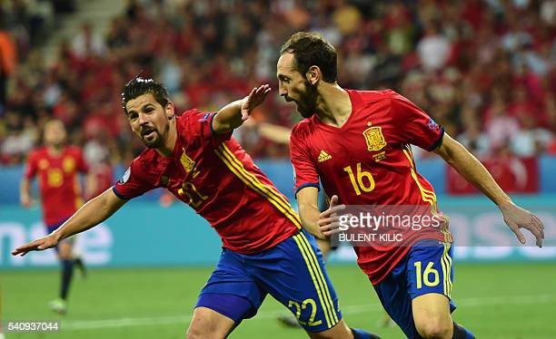 TOPSHOT Spain's forward Nolito celebrates his goal during the Euro 2016 group D football match between Spain and Turkey at the Allianz Riviera...