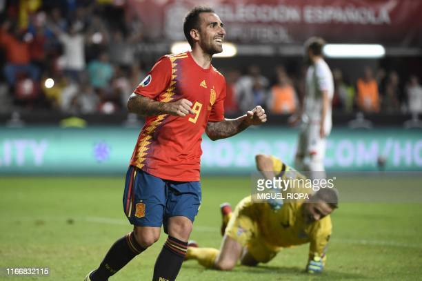 Spain's forward Paco Alcacer celebrates after scoring his second goal during the UEFA Euro 2020 qualifier group F football match between Spain and...