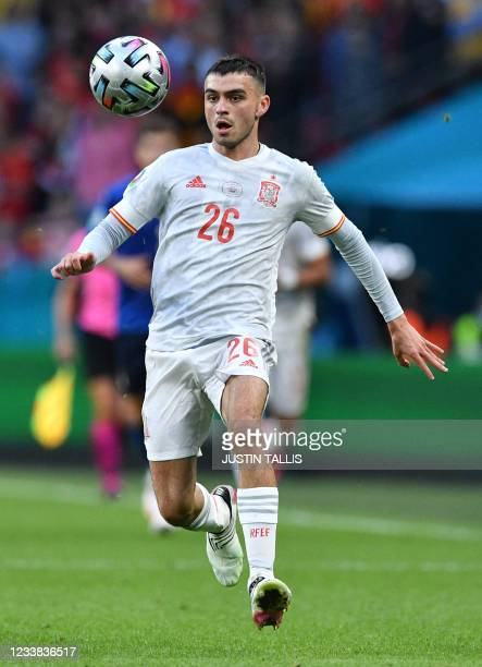 Spain's forward Pedri controls the ball during the UEFA EURO 2020 semi-final football match between Italy and Spain at Wembley Stadium in London on...