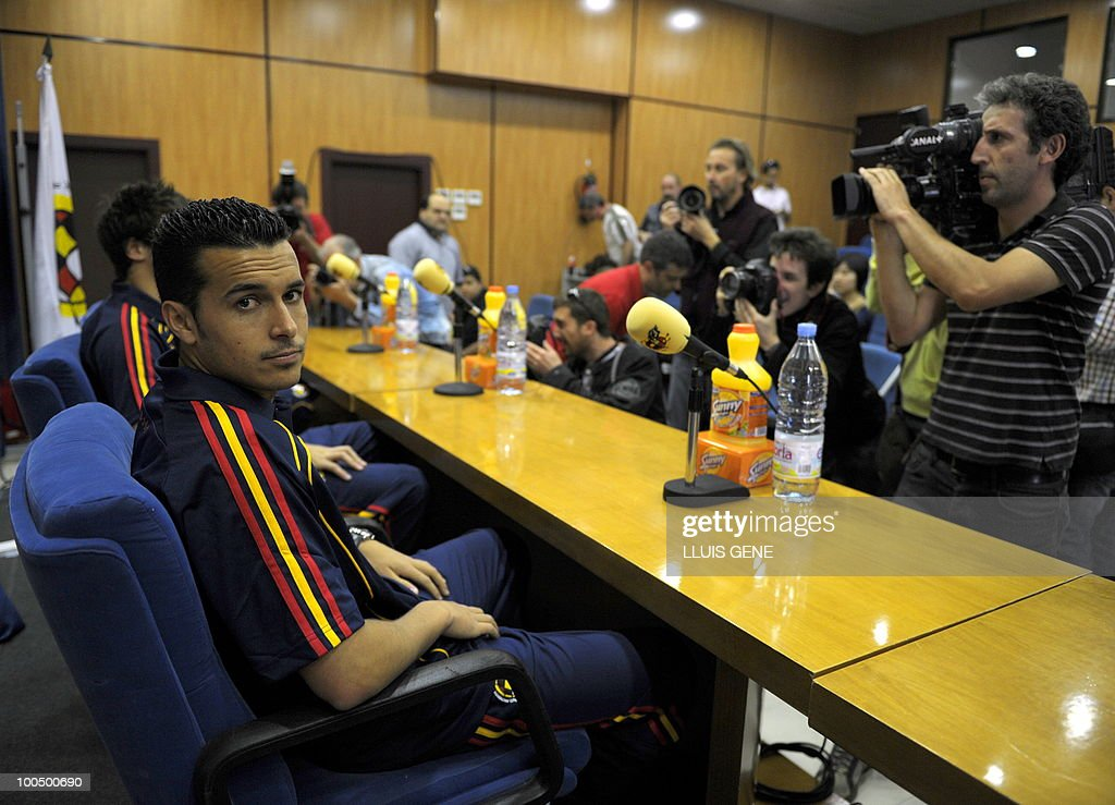 Spain's forward Pedro Rodriguez (L) attends a press conference after the training session of the Spanish football team on May 25, 2010, at the Sports City of Las Rozas, near Madrid. Spain, among the favourites for the World Cup, which runs from June 11-July 11, face Switzerland, Honduras and Chile in Group H of the opening round.
