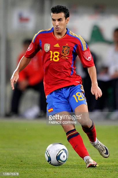Spain's forward Pedro Rodriguez controls the ball during a friendly football match Spain versus Chile on September 2 2011 in at AFG Arena in St...