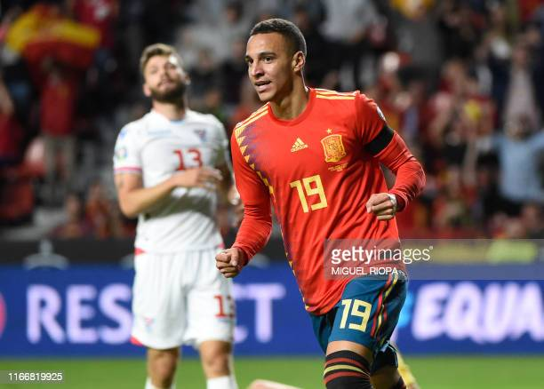 Spain's forward Rodrigo celebrates after scoring the opening goal during the UEFA Euro 2020 qualifier group F football match between Spain and Faroe...