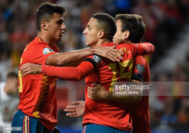 Spain's forward Rodrigo celebrates his goal with teammates during the UEFA Euro 2020 qualifier group F football match between Spain and Faroe Islands...