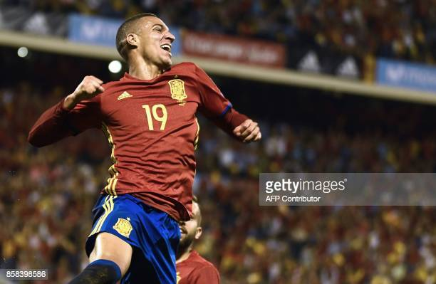 Spain's forward Rodrigo Moreno celebrates after scoring a goal during the World Cup 2018 qualifier football match Spain vs Albania at the Jose Rico...