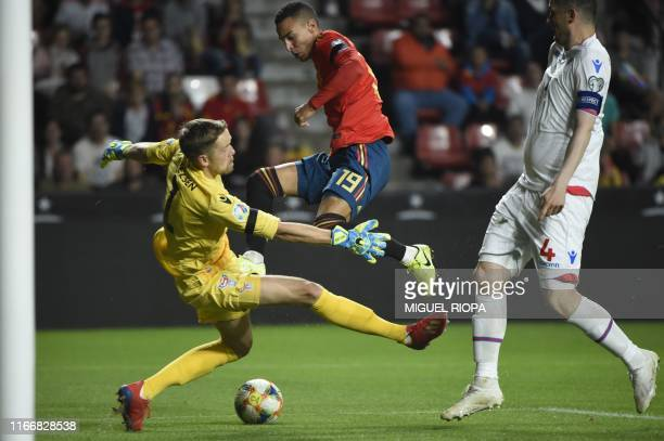Spain's forward Rodrigo scores his second goal during the UEFA Euro 2020 qualifier group F football match between Spain and Faroe Islands at El...