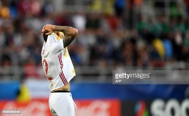 Spain's forward Sandro Ramirez reacts during the UEFA U21 European Championship Group B football match Portugal v Spain on June 20 2017 in Gdynia...