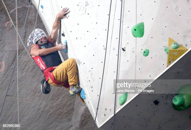 Spain's Francisco Javier Aguilar Amoedo in the final of the Mens Visual Impairment B2 climb during the IFSC Climbing World Cup at the Edinburgh...