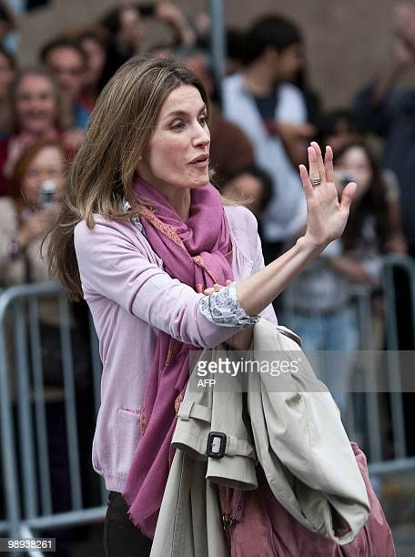 Spain's future queen Princess Letizia leaves the public hospital in Barcelona on May 9 2010 after she visited Spain's King Juan Carlos I Spain's King...