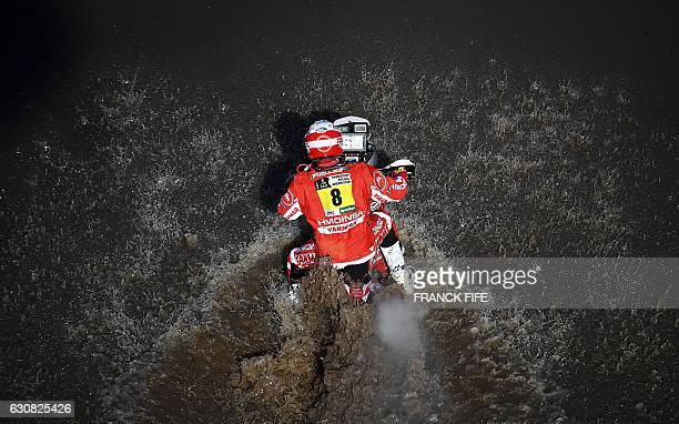 CORRECTION Spain's Gerard Farres Guell powers his Yamaha during the Stage 1 of the Dakar 2017 between Asuncion and Resistencia Argentina on January 2...