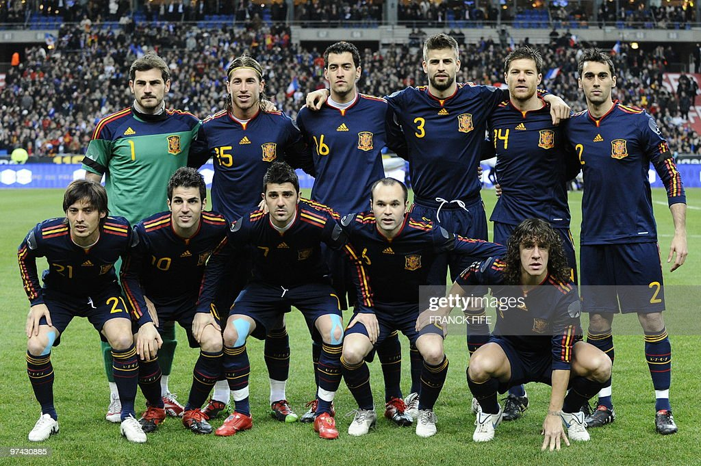 Spain's goalkeeper and captain Iker Casillas, Spain's defender Sergio Ramos, Spain's defender Sergio Busquets, Spain's defender Gerard Pique, Spain's midfielder Xabi AlonsoSpain's defender Alvaro Arbeloa (bottom L-R) Spain's midfielder David Silva, Spain's midfielder Cesc Fabregas, Spain's forward David VillaSpain's midfielder Andres Iniesta Spain's defender Carles Puyol pose prior to a friendly international football match against Spain at the stade de France in Paris on March 3, 2010.