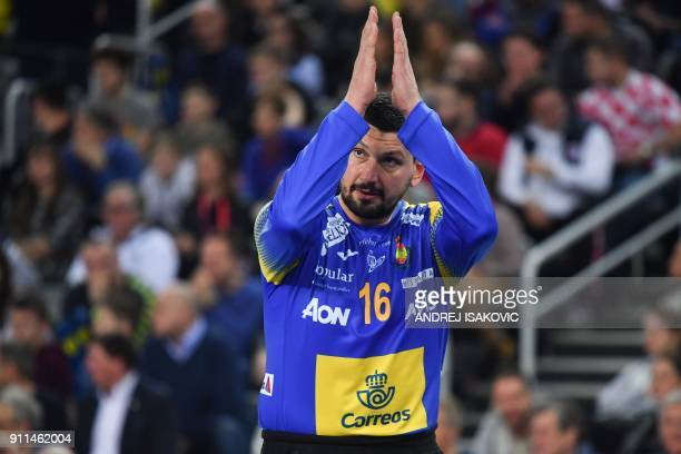 Spain's goalkeeper Arpad Sterbik cheers during the final match of the Men's 2018 EHF European Handball Championship between Spain and Sweden on...