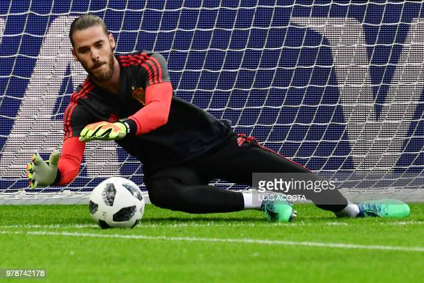 Spain's goalkeeper David De Gea attends a training session in Kazan on June 19 2018 ahead of their Russia 2018 World Cup Group B football match...