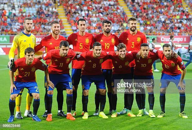 Spain's goalkeeper David De Gea Spain's defender Sergio Ramos and Spain's midfielder Sergio Busquets Spain's forward Diego Costa Spain's defender...
