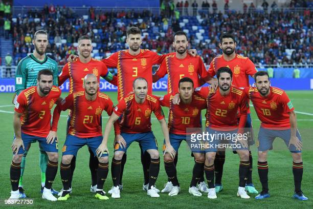 Spain's goalkeeper David De Gea Spain's defender Sergio Ramos Spain's defender Gerard Pique Spain's midfielder Sergio Busquets Spain's forward Diego...