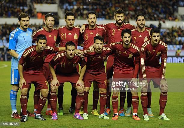 Spain's goalkeeper Iker Casillas Spain's defender Sergio Ramos Spain's midfielder Bruno Spain's midfielder Sergio Busquets Spain's defender Gerard...
