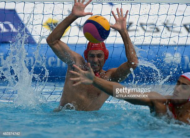 Spain's goalkeeper Inaki Aguilara Vicente is pictured during the men's Water Polo European Championships match of Spain vs France in Budapest on July...