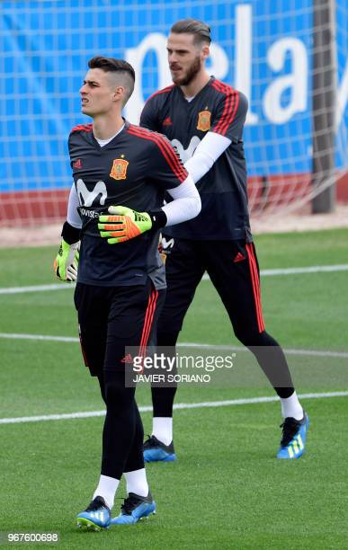Spain's goalkeeper Kepa Arrizabalaga and Spain's goalkeeper David de Gea attend a training session at Las Rozas de Madrid sports city on June 5 2018