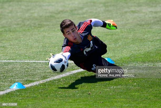 Spain's goalkeeper Kepa Arrizabalaga attends a training session at Krasnodar Academy on June 21 during the Russia 2018 World Cup football tournament