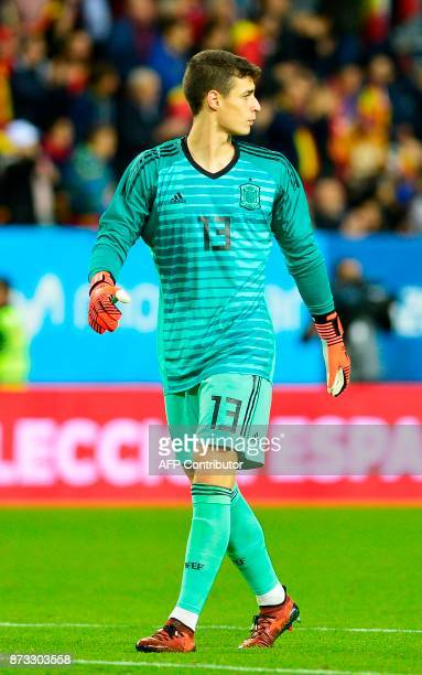 Spain's goalkeeper Kepa Arrizabalaga looks on during the international friendly football match Spain against Costa Rica at La Rosaleda stadium in...