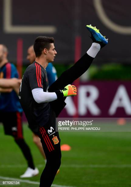 Spain's goalkeeper Kepa Arrizabalaga Revuelta attends a training session at Krasnodar Academy on June 17 during the Russia 2018 World Cup football...