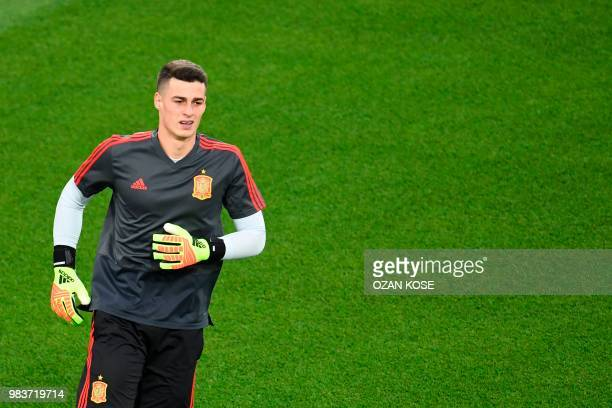 Spain's goalkeeper Kepa Arrizabalaga warms up before the Russia 2018 World Cup Group B football match between Spain and Morocco at the Kaliningrad...