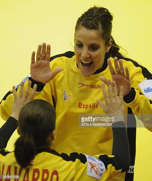 Spain's goalkeeper Silvia Navarro and Spain's goalkeeper Cristina Gonzales celebrate during the 2012 EHF European Women's Handball Championship match...