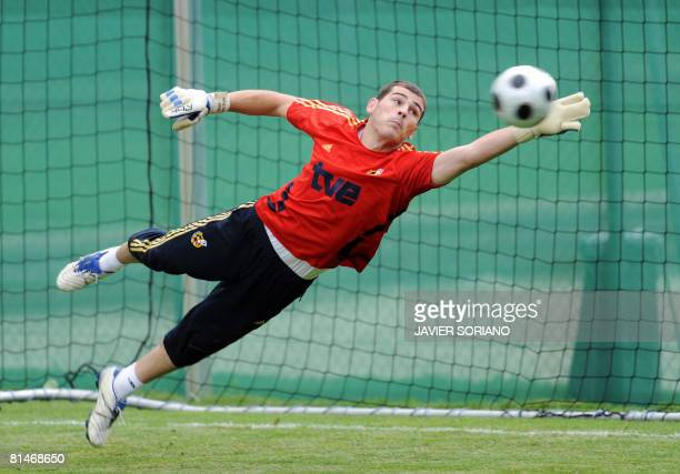 Spain's goalkeer Iker Casillas stops a ball during a training session on June 6 2008 in Neustif near Innsbruck Spain will play in group D with Rusia...