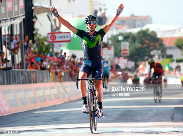 Spain's Gorka Izagirre of team Movistar celebrates as he crosses the finish line to win the 8th stage of the 100th Giro d'Italia Tour of Italy...