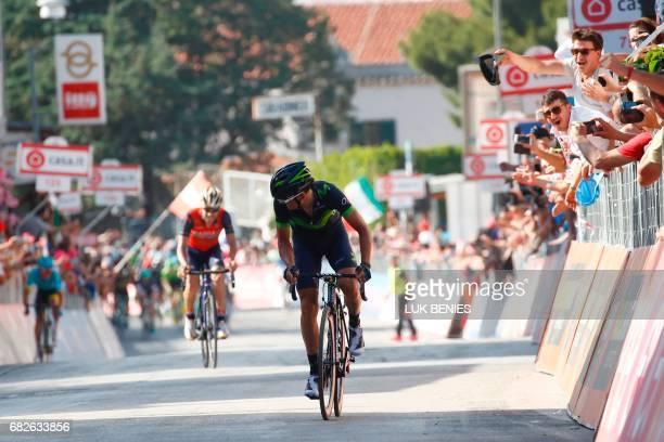 Spain's Gorka Izagirre of team Movistar sprints ahead Italy's rider of team Bahrain Merida Giovanni Visconti to win the 8th stage of the 100th Giro...