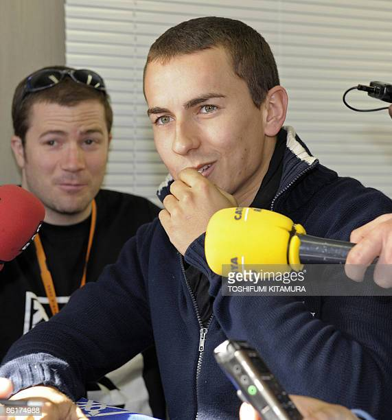 Spain's Grand Prix rider Jorge Lorenzo of Yamaha speaks to journalists during a press conference of the MotoGP Japan Grand Prix at Twin Ring Motegi...