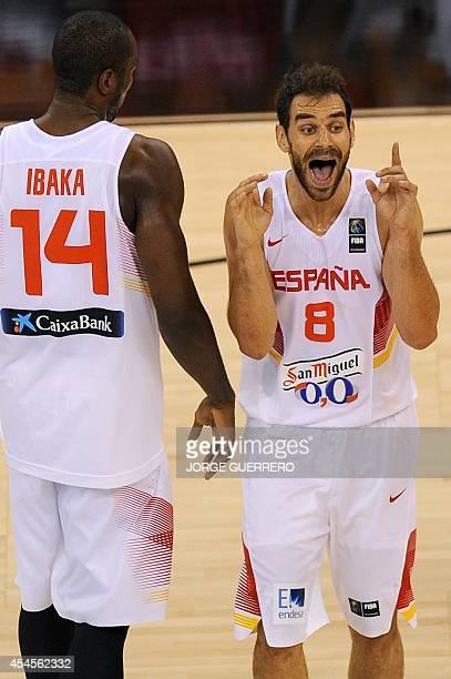 Spain's guard Jose Calderon reacts during the 2014 FIBA World basketball championships group A match Spain vs France at the Palacio Municipal de...