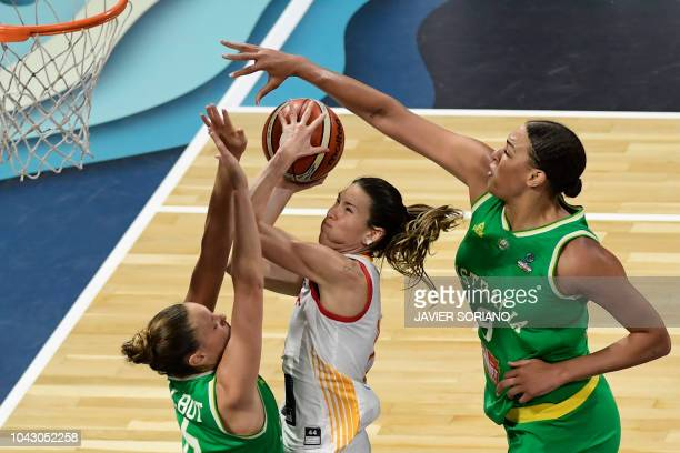 Spain's guard Marta Xargay vies with Australia's guard Stephanie Talbot and Australia's center Liz Cambage during the FIBA 2018 Women's Basketball...