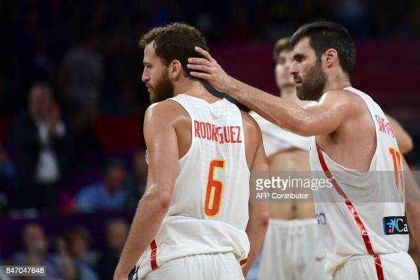 Spain's guard Sergio Rodriguez reacts after his team's defeat in the FIBA Eurobasket 2017 men's semifinal basketball match between Spain and Slovenia...