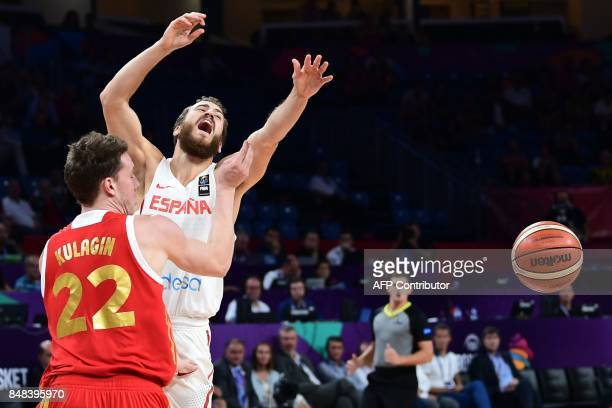 Spain's guard Sergio Rodriguez vies with Russia's guard Dmitry Kulagin during the FIBA Euro basket 2017 men's 3rd game match between Spain and Russia...